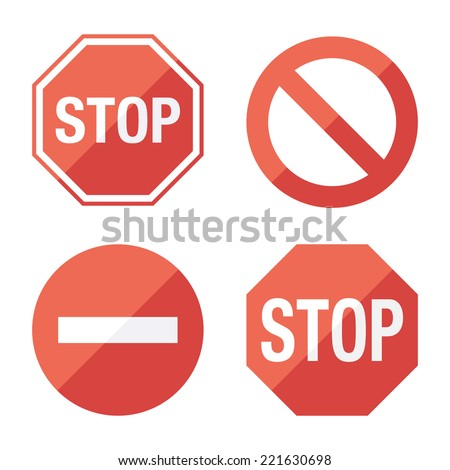 Stop sign, set. Flat design. Vector for web