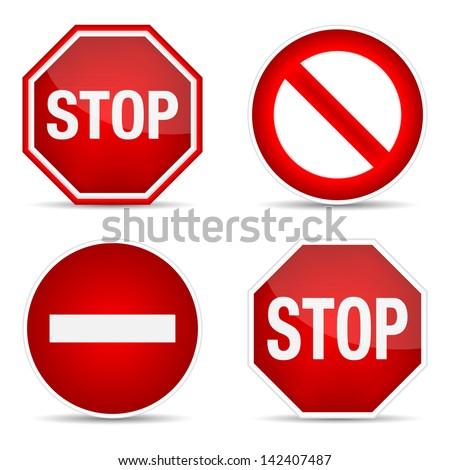 Stop sign, set. Vector illustration