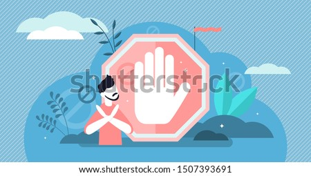 Stop sign vector illustration. Flat tiny prohibition no gesture person concept. Symbolic warning, danger or safety caution information. Forbidden entry or restricted area ban or blocked road alert. Stockfoto ©