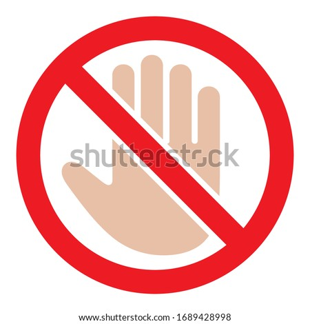 stop sign with hand symbol in a red crossed out circle on a white background Foto d'archivio ©