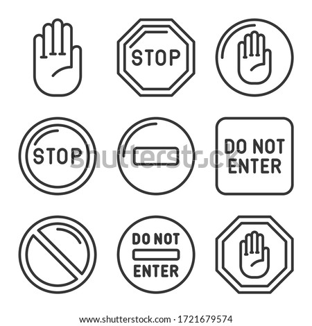Stop Signs and Icons Set. Line Style Vector