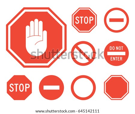 stop signs collection in red