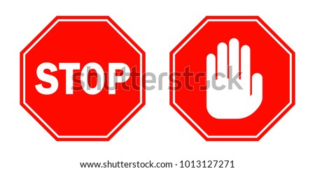 STOP signs in flat design. Vector illustration. Red stop signs isolated on white background