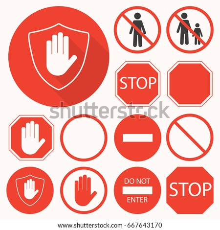 Stop signs set. Stop hand, octagon, circle, shield signs for prohibited activities. Vector