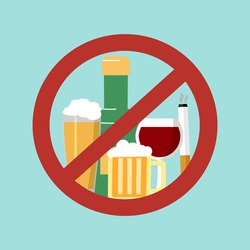 Stop smoking and drinking alcohol habits concept vector illustration. Prohibited sign for beer and cigarettes.