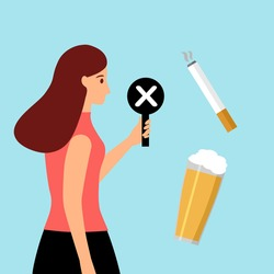 Stop smoking and drinking alcohol habits concept vector illustration. Woman holding prohibited sign for beer and cigarettes.