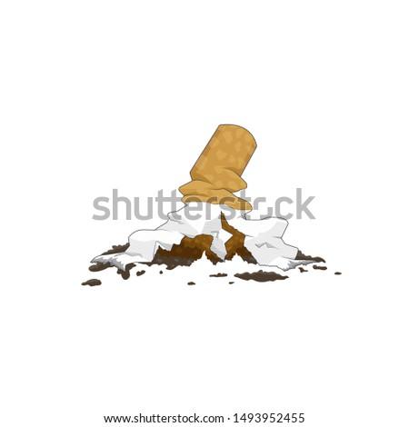 Stop smoking. Broken cigarette. Healthy life style. Bad habits. vector illustration.