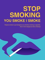 Stop Smoking Poster. Purple and blue smoke with cigarette in the mouth concept.