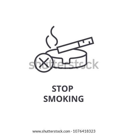 stop smoking thin line icon