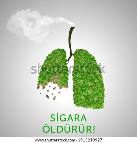 Stop smoking, Turkish design. Lung, green life, smoke realistic hand drawn. Stok fotoğraf ©