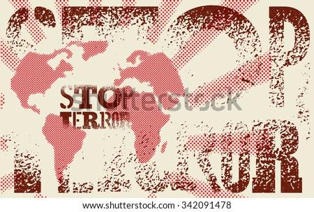 stop terror typographic