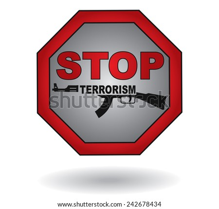 stop the terrorism sign with
