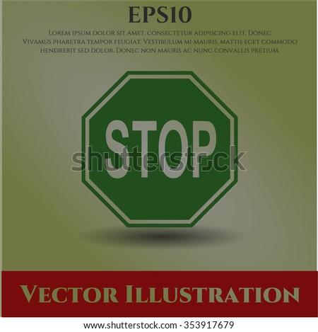 Stop vector icon or symbol