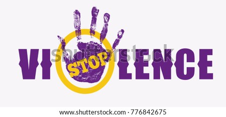 Stop violence sign. Creative social vector design element concept. May be used for human rights theme. Hand Print. Grunge logo.