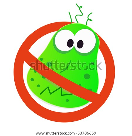 Sign. vector illustration of germ in red alert circle. - stock vector