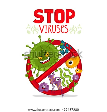 Stop viruses symbol. Cartoon viruses characters isolated vector illustration on white background. Cute fly germ virus infection character. Protection against viruses and diseases. Stop spread of virus