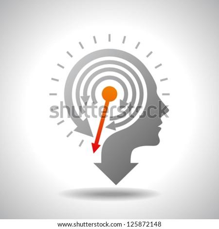 Stop Watch in Human Head - Conceptual Vector