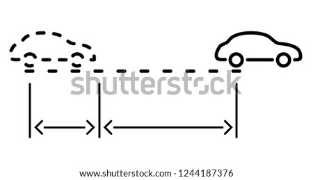 Stopping distance example. Braking distance is reaction distance plus braking distance for full stopping of car. Vector flat outline icon illustration isolated on white background.