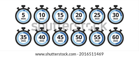 stopwatch five minutes repeat multiple timing icon. Vector illustration Photo stock ©