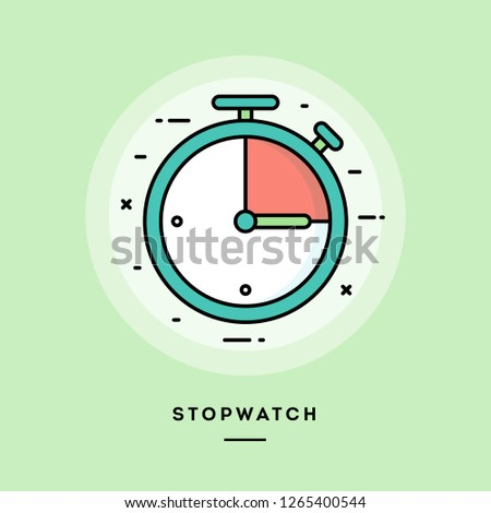 Stopwatch, flat design thin line banner, usage for e-mail newsletters, web banners, headers, blog posts, print and more. Vector illustration.