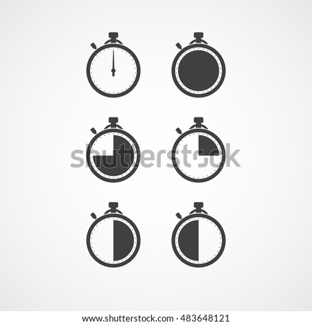 Stopwatch icon set. Timer icon. Chronometer. Timekeeper. Chronoscope. Time check. Seconds timer, seconds counter. Timing device. Timer quarter, half, three quarter, full. 15, 30, 45 seconds, minutes