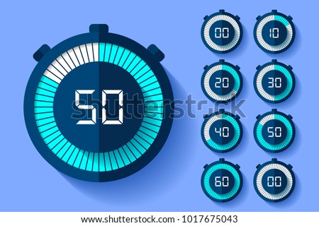 Stopwatch icons set in flat style, timers on color background. Sport clock. Vector design element for your business project