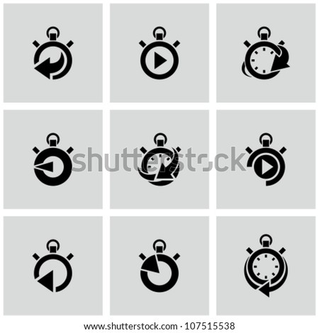 Stopwatch icons set with time arrow around. - stock vector