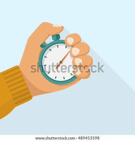 Stopwatch in hand icon. Sport timer on competitions. Trainer holding stopwatch. Start, finish. Time management. Vector illustration flat design. Isolated on background.