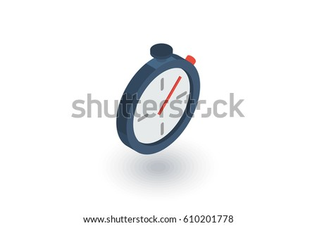 stopwatch isometric flat icon. 3d vector colorful illustration. Pictogram isolated on white background