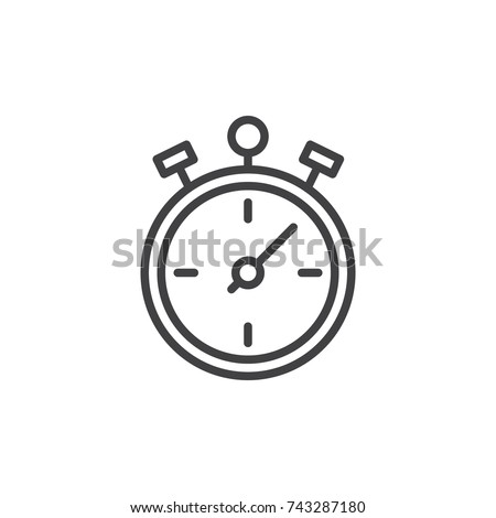Stopwatch line icon, outline vector sign, linear style pictogram isolated on white. Chronometer symbol, logo illustration. Editable stroke