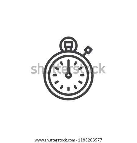 Stopwatch outline icon. linear style sign for mobile concept and web design. Timer clock simple line vector icon. Symbol, logo illustration. Pixel perfect vector graphics