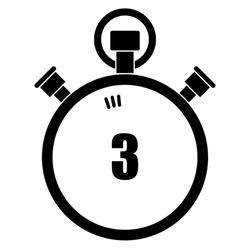 Stopwatch vector icon, 3 seconds