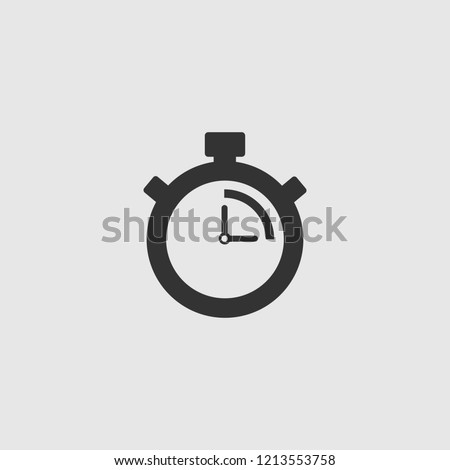 Stopwatch Vector Icon. The 15 seconds, minutes stopwatch icon on gray background. Clock and watch, timer, countdown symbol. EPS 10 vector.
