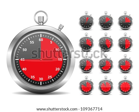 Stopwtach - red timers, vector eps10 illustration