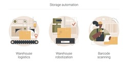 Storage automation abstract concept vector illustration set. Warehouse logistics and robotization, barcode scanning, package receiving and order-picking, sorting and shipping abstract metaphor.