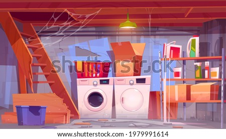 Storage room with laundry equipment in house basement. Vector cartoon interior of old home cellar with washing and dryer machine, dirty boxes on shelves, broken wooden stairs and spiderweb