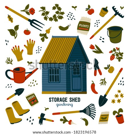 Storage shed. Blue storage shed and different types of tools for gardening and landscaping. Vector illustration in flat cartoon style on white background