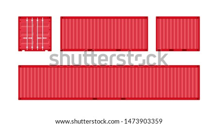 Storage Shipping Container isolated. Red cargo container front, side view. Standart ISO sizes  10', 20', 40'. Vector illustration on white background.