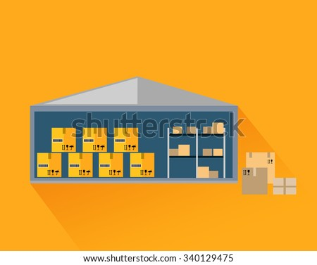 Storage warehouse with boxes in cut. Storage unit, warehouse interior, storage boxes, storage building, industrial storehouse, cargo and interior, distribution and shelf illustration