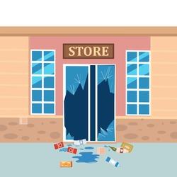 Store broken. Robbery concept. Broken doors facades of store. Crime scene vandalism, cracked glass, goods. Vector illustration flat cartoon design isolated