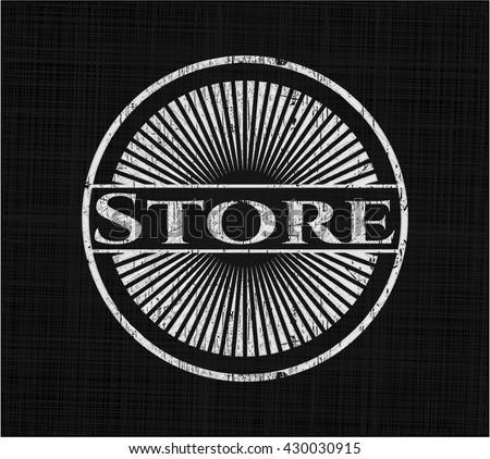 Store chalk emblem written on a blackboard