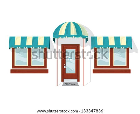 Store Front Door and Windows. Vector illustration of a shop door and windows. It was created in Adobe Illustrator and was saved out as an .eps 10 file. Some transparencies were used.