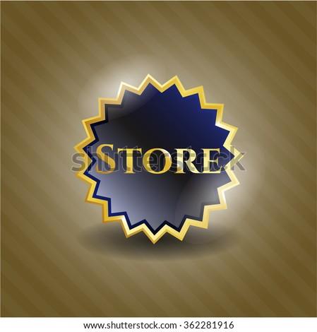 Store gold shiny emblem