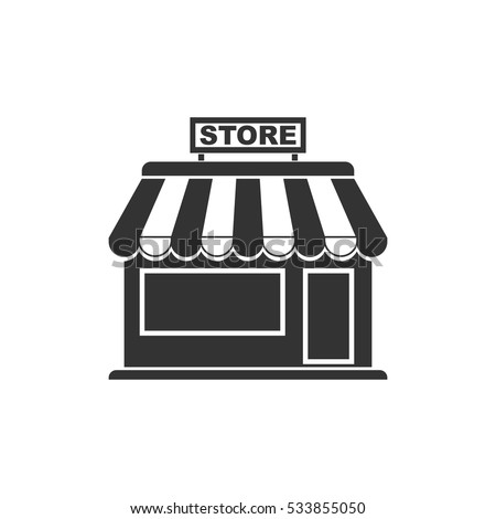 Store icon flat. Illustration isolated on white background. Vector grey sign symbol