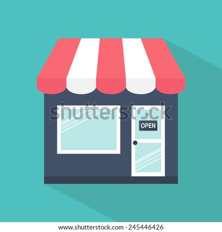 Store icon. Shop icon. Flat design. Vector illustration