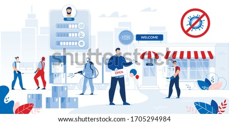 Store Opening after Covid19 Outbreak Pandemic. Business Character in Protective Medical Face Mask Welcome Customer to New Shop. Safety Goods Delivery after Disinfection. Deliveryman in Respiratory