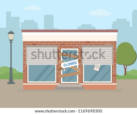 store or cafe is bankrupt and