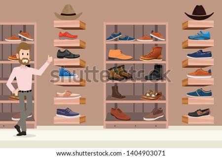 store shoes men 2d illustration