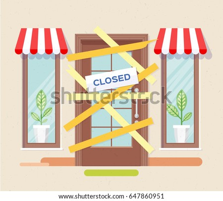 Store shop or cafe is bankrupt and closed. Locked door on a business that has gone bankrupt. Vector, Illustration, flat.
