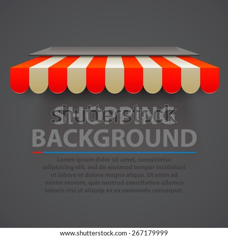 Store striped awning modern background, Shopping background, Vector illustration